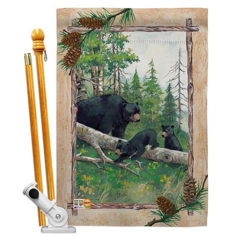 Breeze Decor Black Bear Cubs 2 Sided Polyester 40 X 28 In Flag Set Wayfair