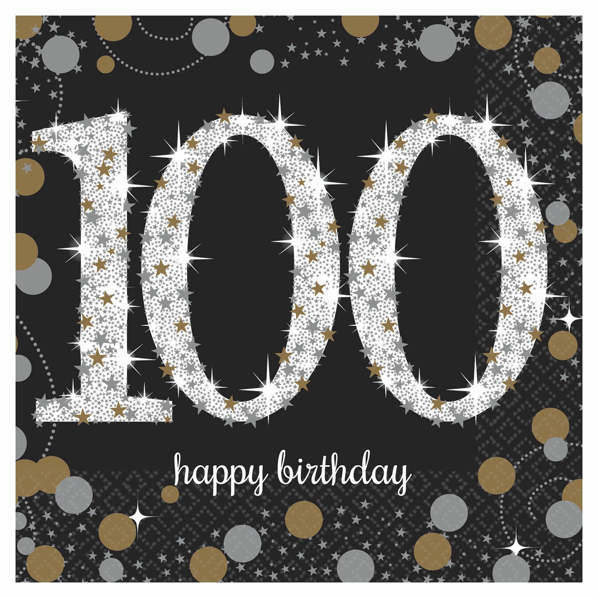 Amscan Sparkling Celebration 100th Birthday Beverage 5 Paper Disposable Napkins Wayfair