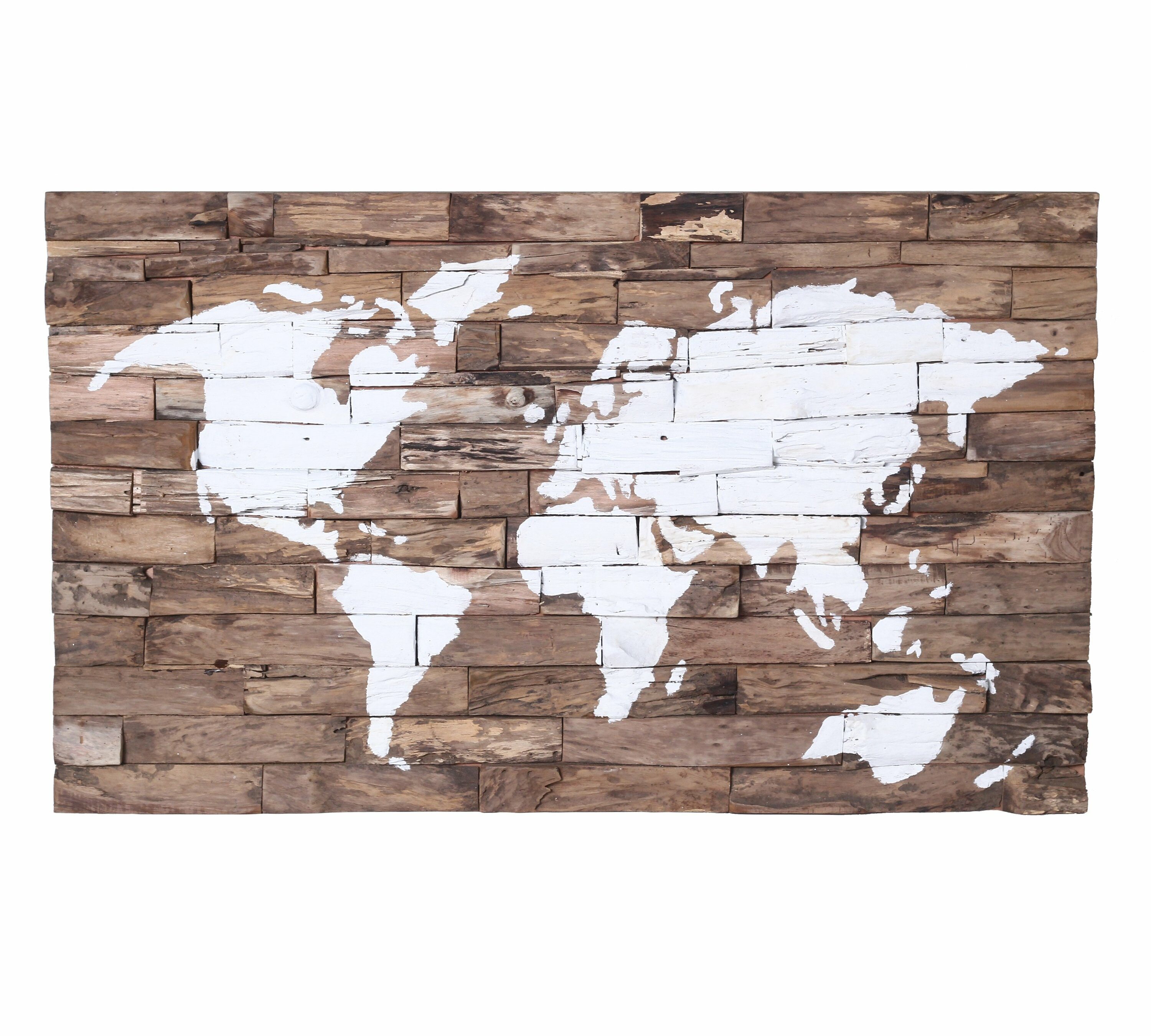 Foundry Select Wood World Map Unframed Painting Print On Wood Wayfair