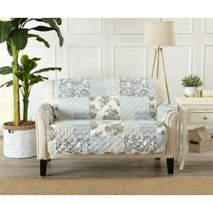 Patchwork Scalloped Printed Box Cushion Loveseat Slipcover