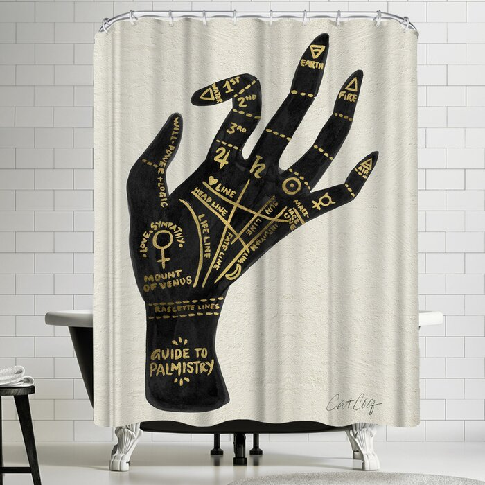 Genial Palmistry Black And Gold Shower Curtain