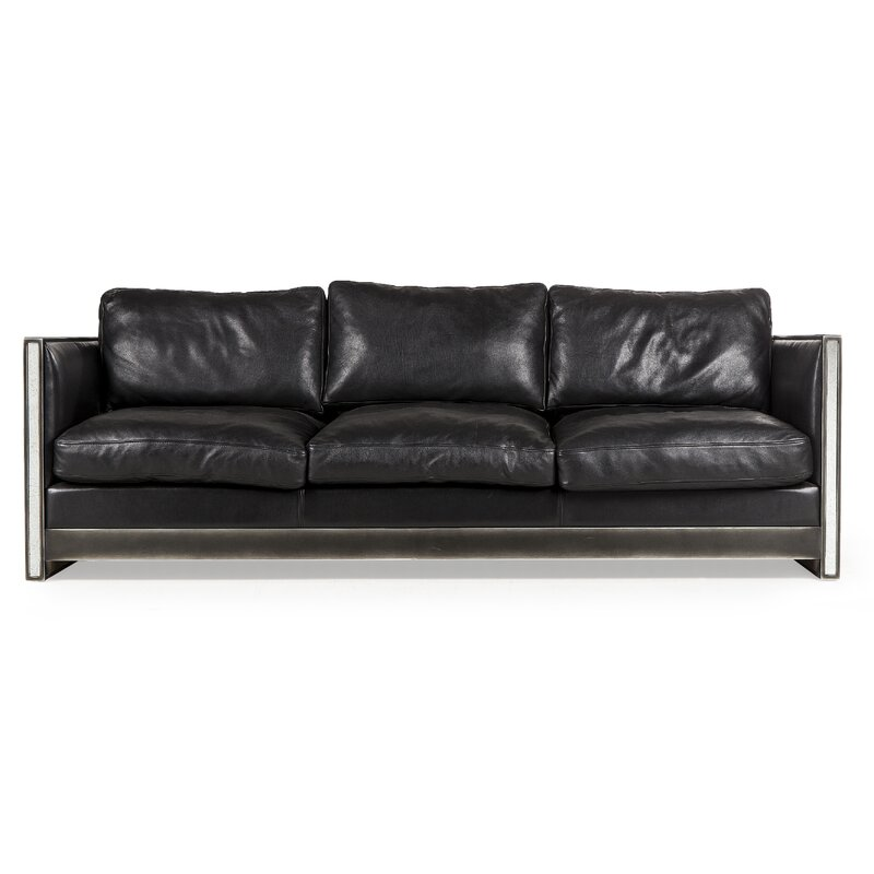 Resource Decor Maison 55 Genuine Leather 85 5 Square Arm Sofa Perigold
