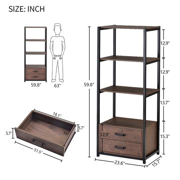 17 Stories Novack 59 8 H X 23 6 W Metal Standard Bookcase Wayfair