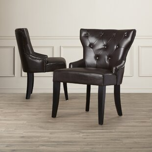 Buchholtz Genuine Leather Upholstered Dining Chair (Set of 2) by DarHome Co