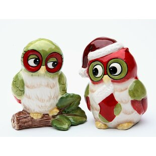 Cute Owlet Baby Owl Glass Salt /& Pepper Shakers Holder Figurine Set Wildlife