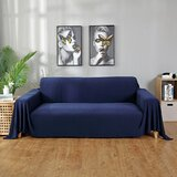 Knitted All-Inclusive Box Cushion Sofa Slipcover by Dakota Fields