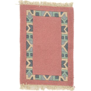 Best Deals One-of-a-Kind Dorcaster Hand-Knotted 1'4 x 1'11 Wool Salmon Area Rug By Isabelline