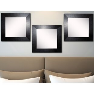 Best Reviews Osibodu Black Wide Leather Wall Mirror (Set of 3) ByOrren Ellis