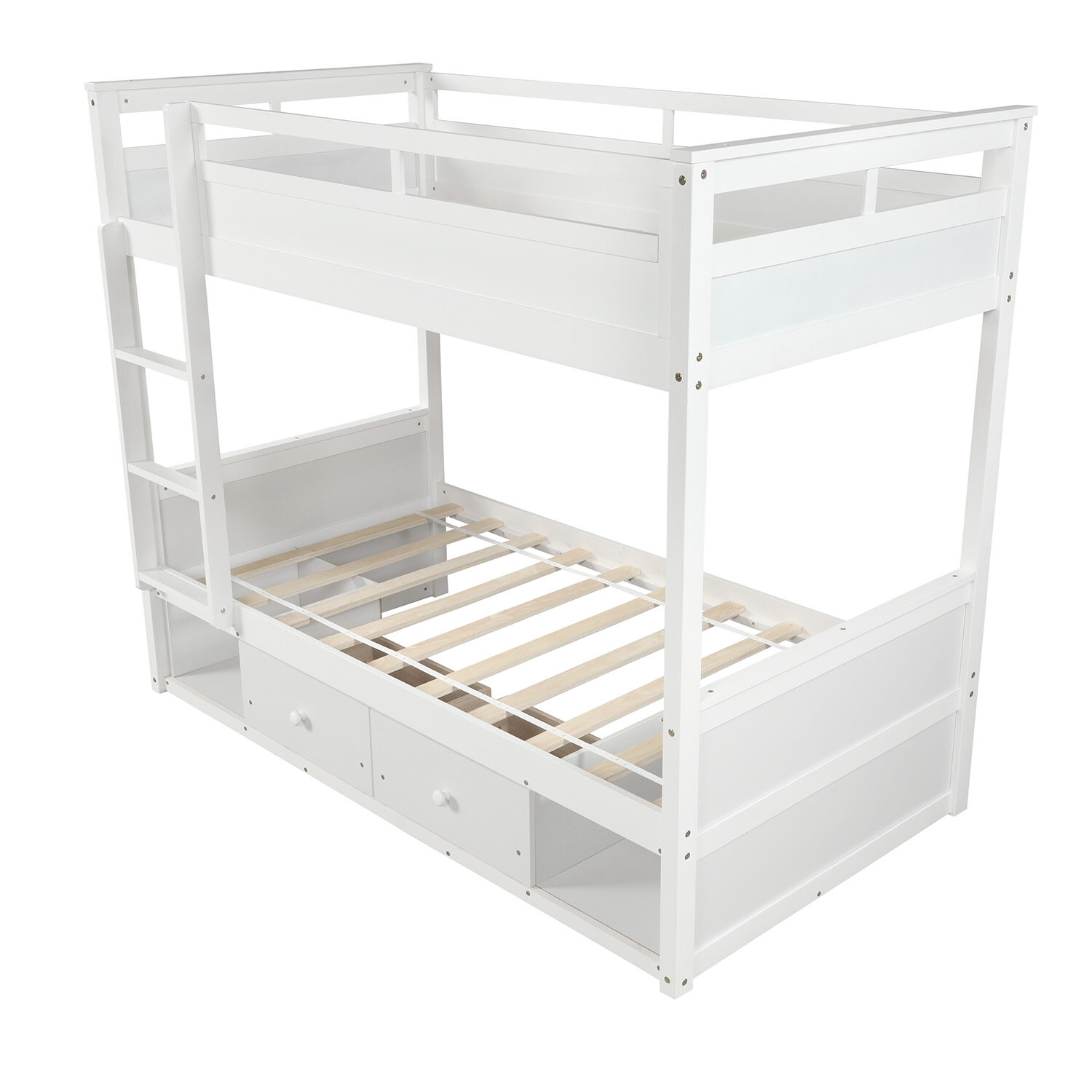 Isabelle Max Carevelle Twin Over Twin Low Loft Bunk Bed With Drawers And Shelves Wayfair