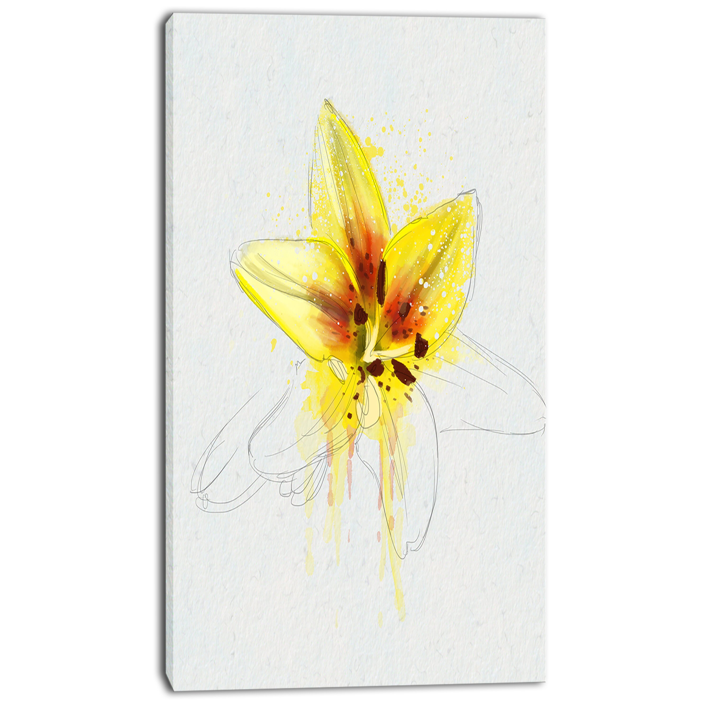 Designart Wonderful Yellow Lily Flower Sketch Painting Print On Wrapped Canvas Wayfair