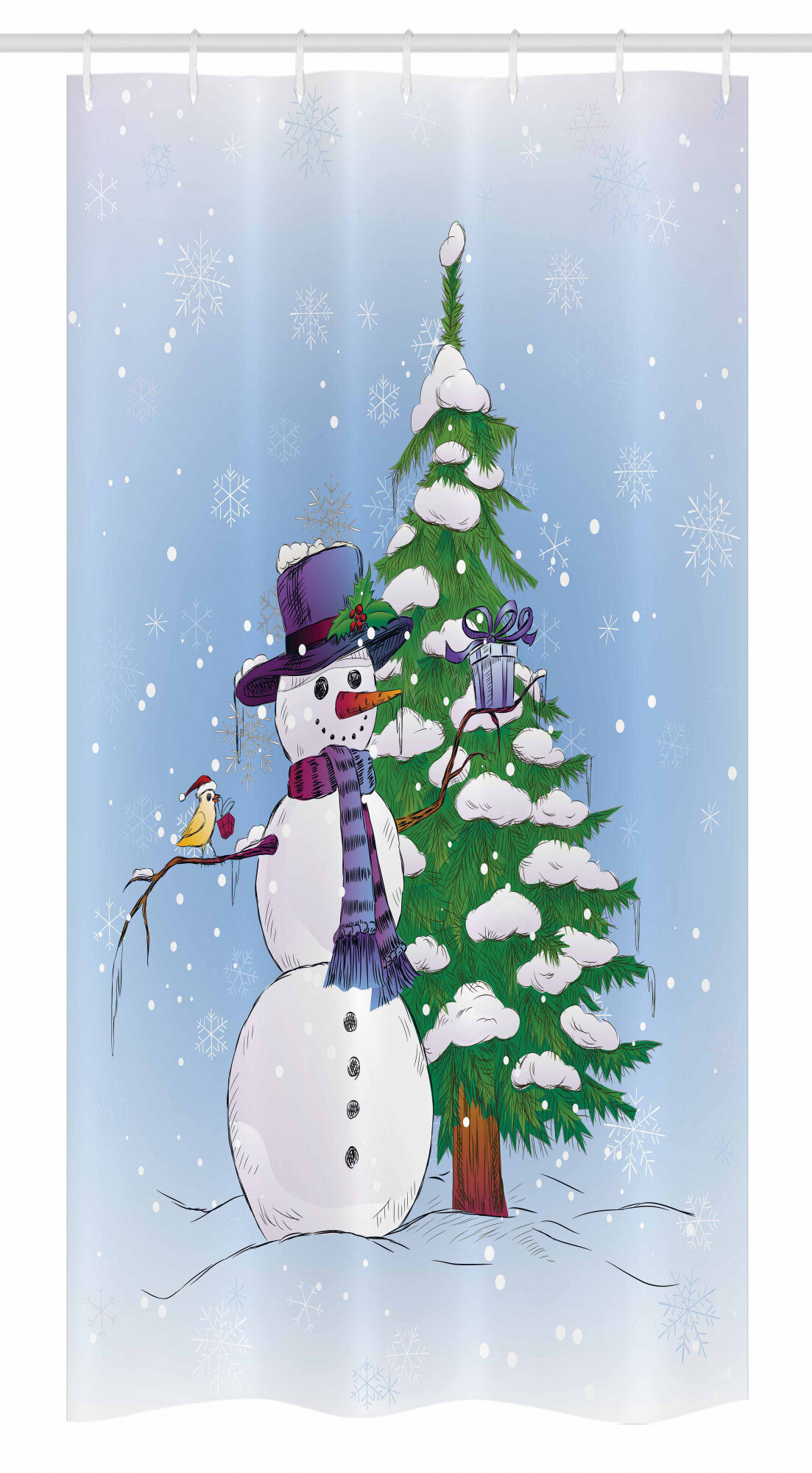 Multicolor Christmas Tree Snowflake Shower Curtain /& Hook Holiday Bathroom Decor