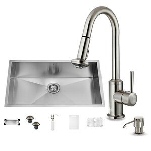 VIGO 32 inch Undermount Single Bowl 16 Gauge Stainless Steel Kitchen Sink with Astor Stainless Steel Faucet, Grid, Straine...