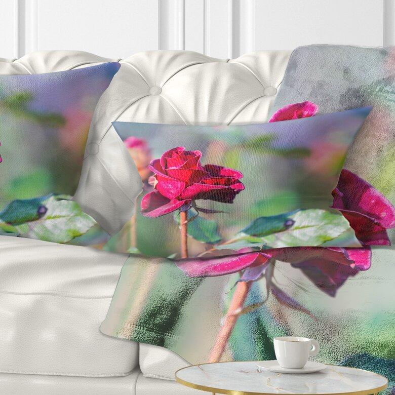 East Urban Home Flower Rose On Blurred Background Lumbar Pillow Wayfair