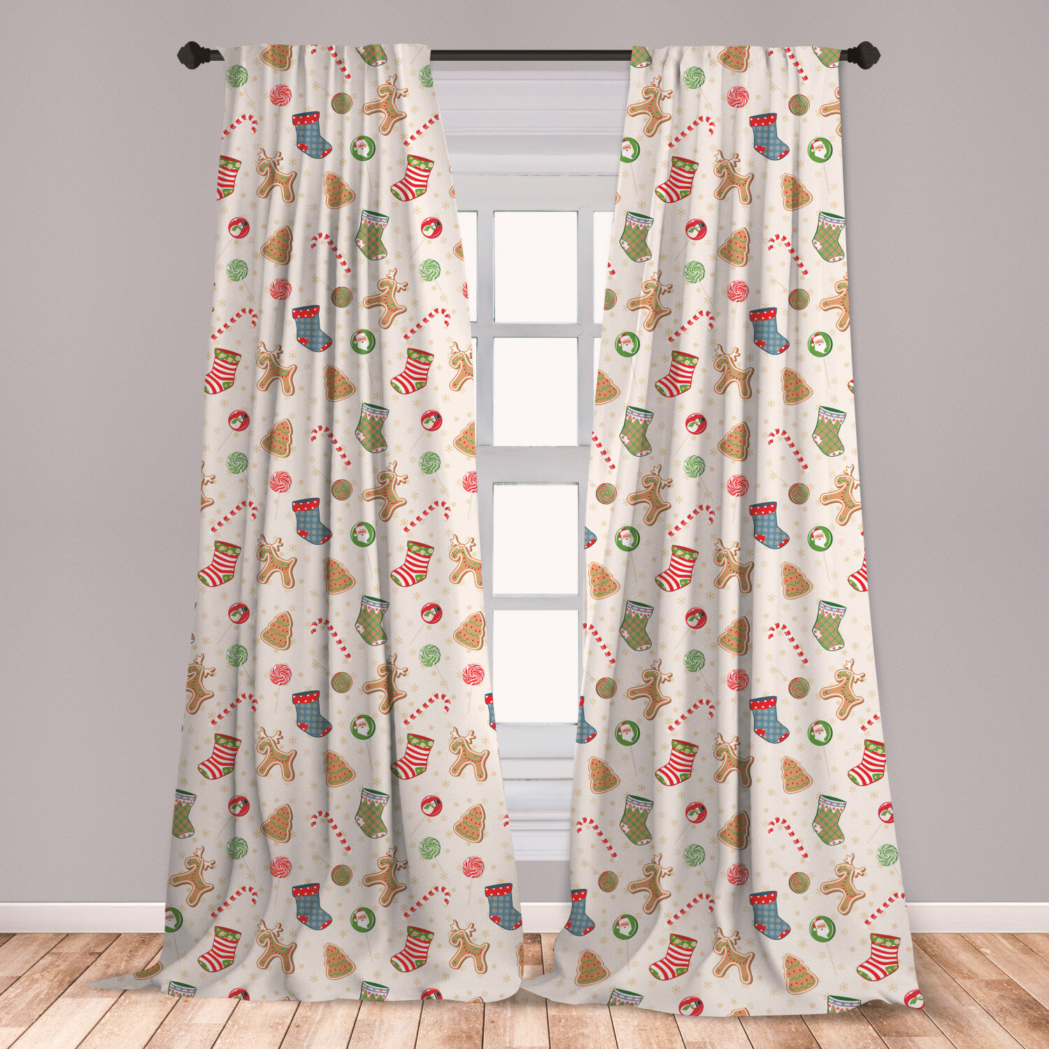 Ambesonne Christmas Window Curtains