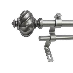 atlanta core ribbed knob ii telescoping double drapery rod set
