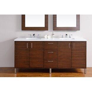 Cordie 72 Double American Walnut Birch Base Bathroom Vanity Set by Orren Ellis
