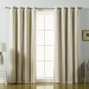 Mix and Match Voile Striped Blackout Thermal Grommet Single Curtain Panel