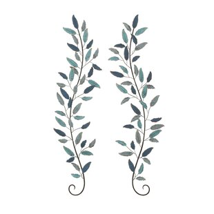 Lovely 2 Piece Metal Leaf Wall Décor Set