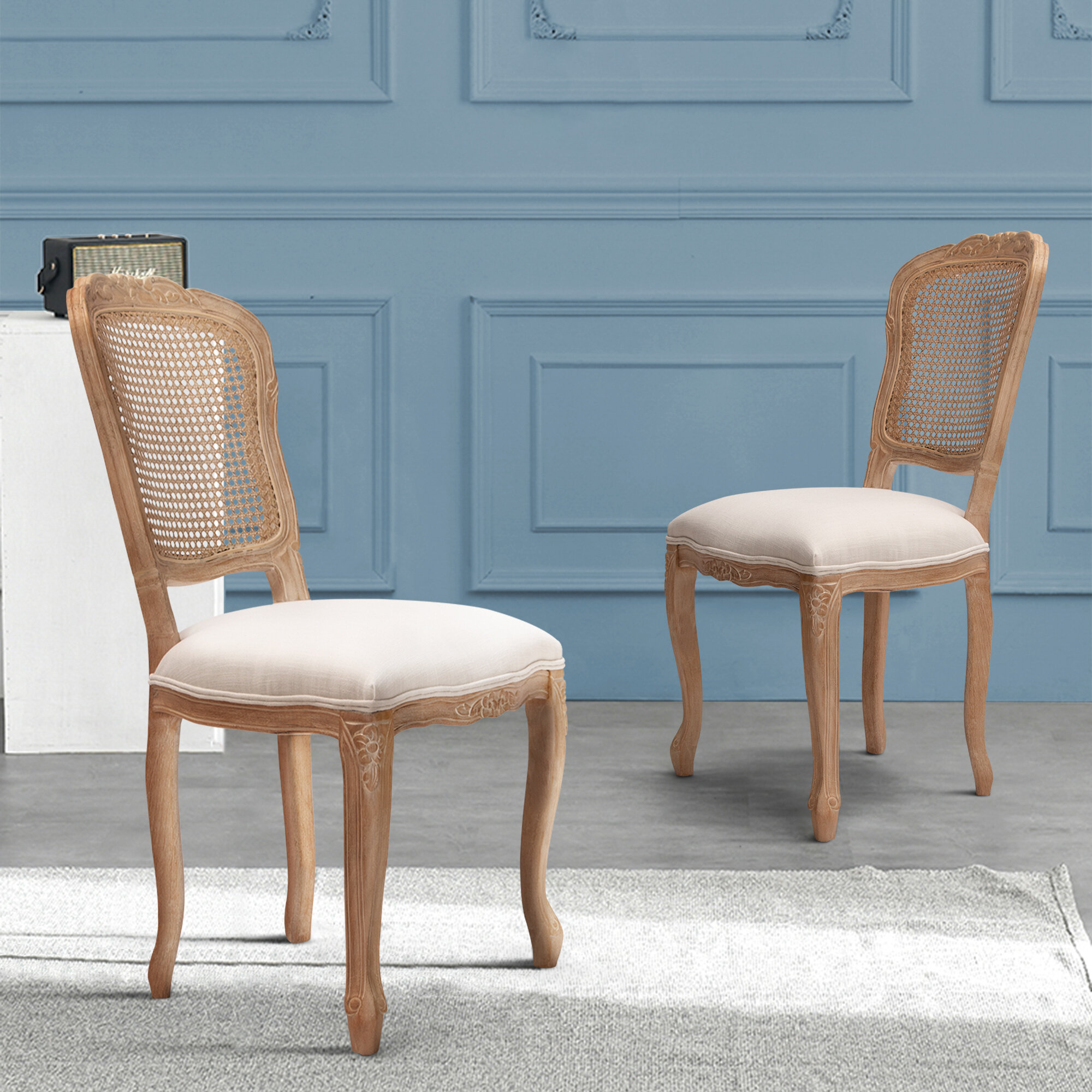 Picture of: Crestlive Products French Dining Chairs Upholstered Accent Chair Parsons Armless Urban Style Linen Fabric With Fine Rattan Back For Living Room Kitchen Restaurant Set Of 2