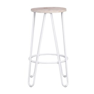 Avery 63.5cm Bar Stool In Oak/White (Set Of 2) By Zipcode Design