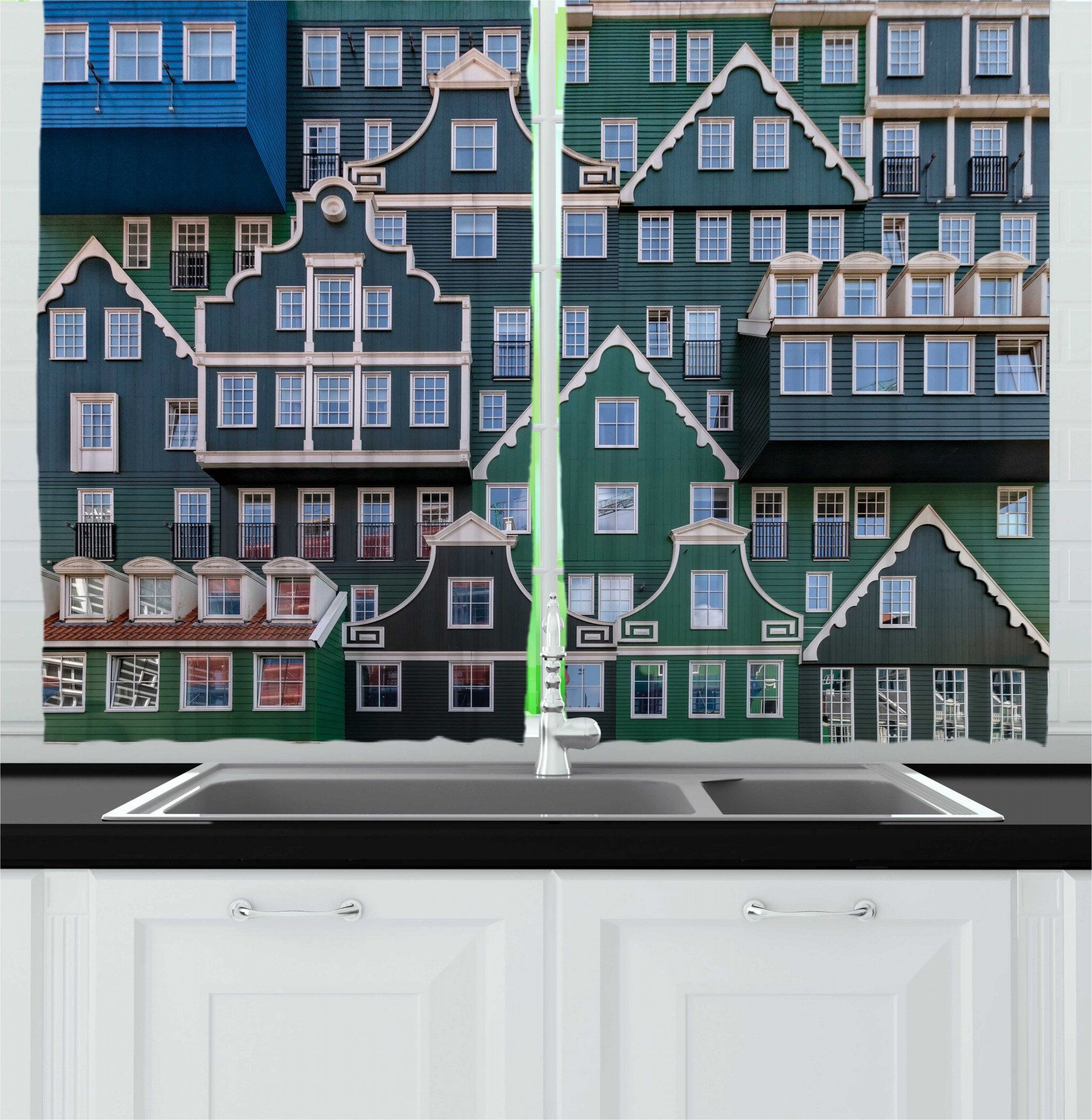 East Urban Home 2 Piece Amsterdam Close Up Image Of Buildings Influenced By Dutch Architectures And Themes Kitchen Curtain Set Wayfair