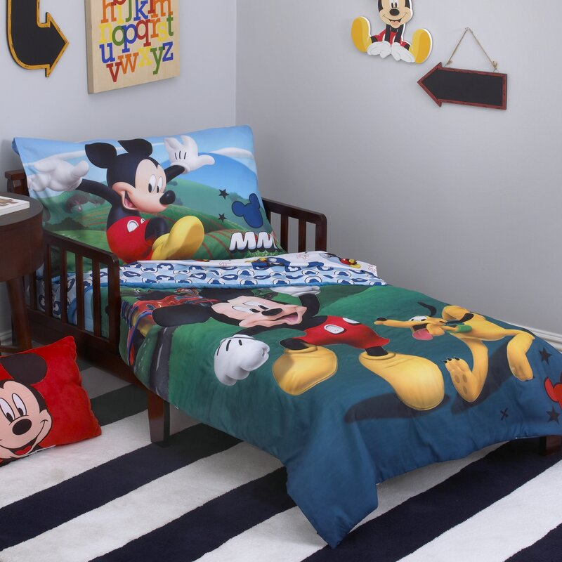 disney mickey mouse playhouse 4 piece toddler bedding set reviews rh wayfair com mickey mouse bedding set for adults mickey mouse bedding set full size