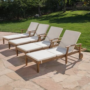 Balduin Reclining Chaise Lounge with Cushion (Set of 4)