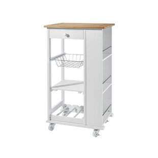 Chiu Kitchen Trolley With Solid Wood Counter By Brambly Cottage