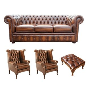 Keiran Chesterfield 4 Piece Leather Sofa Set By Williston Forge