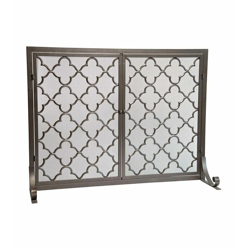 Plow Hearth Geometric Single Panel Steel Fireplace Screen