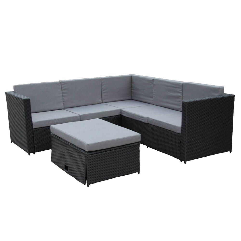 Outdoor Patio Furniture With Storage.Aleko Rattan Wicker 4 Piece Indoor Outdoor Patio Furniture Sofa Set With Storage Footstool Dark Grey With Cream Cushions