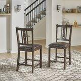 Lassorr Upholstered Slat Back Side Chair in Brown (Set of 2) by Gracie Oaks
