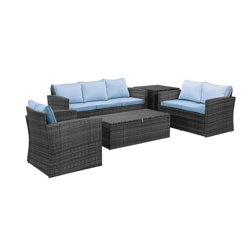 Sol 72 Outdoor Arlington 5 Piece Rattan Sofa Seating Group With Cushions Reviews Wayfair