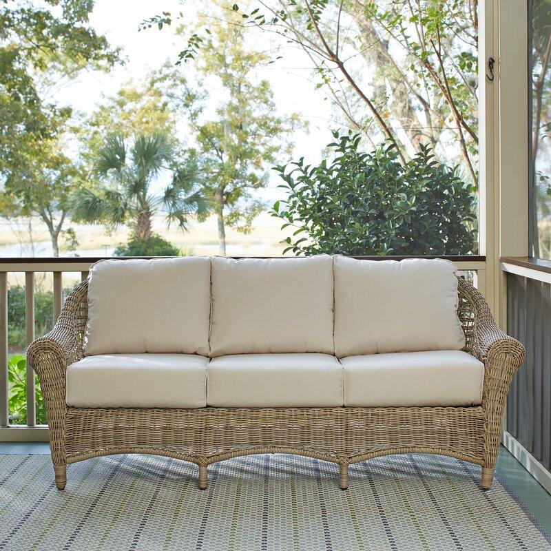 Lovely Lynwood Wicker Sofa With Sunbrella® Cushions
