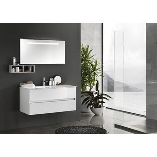 Dierks 100cm Wall Mounted Vanity Unit With Mirror And Cabinet By Ebern Designs