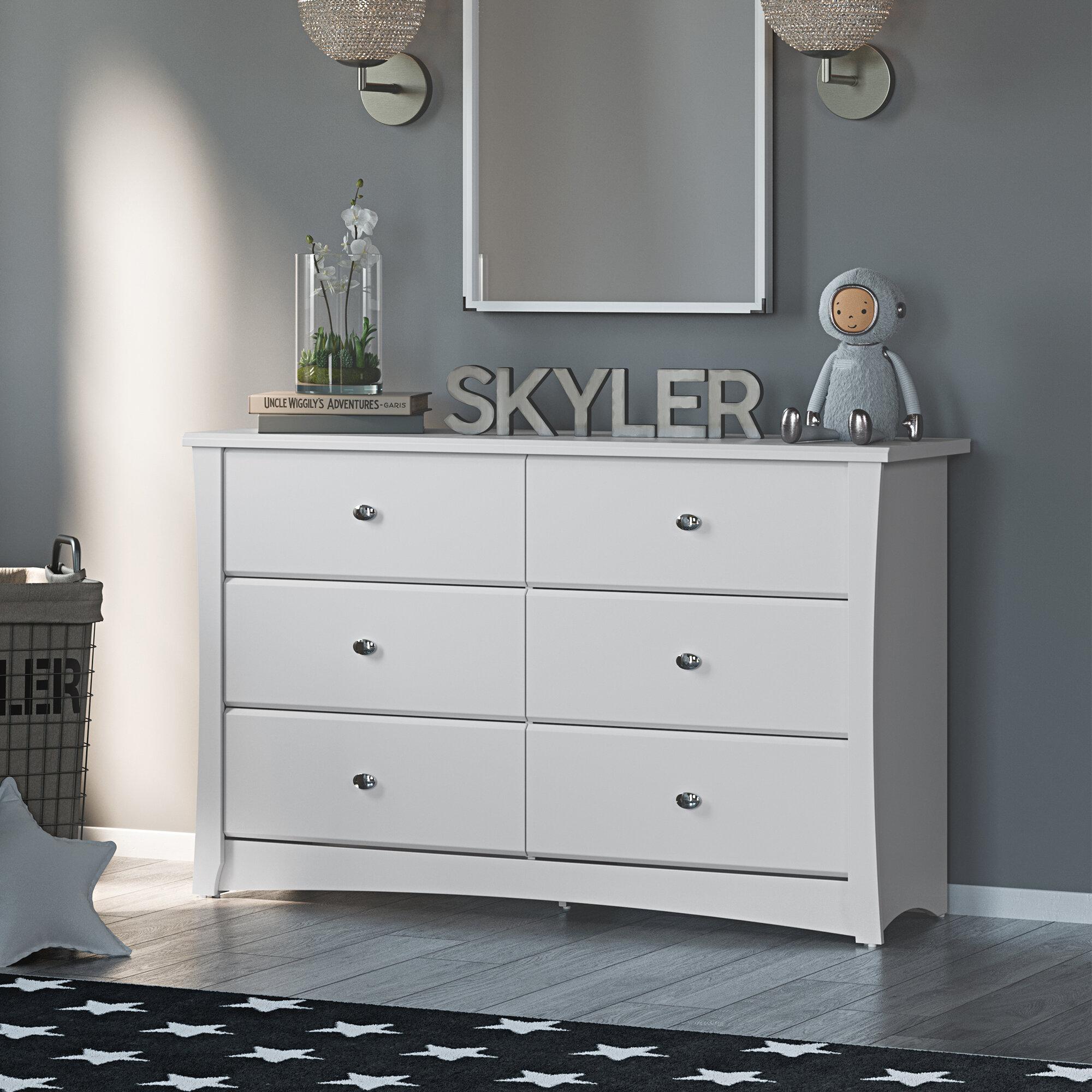 Kids Bedroom Dresser with 6 Drawers Pebble Gray Stork Craft Storkcraft Brookside 6 Drawer Dresser Ideal for Nursery Toddlers Room Kids Room Wood /& Composite Construction