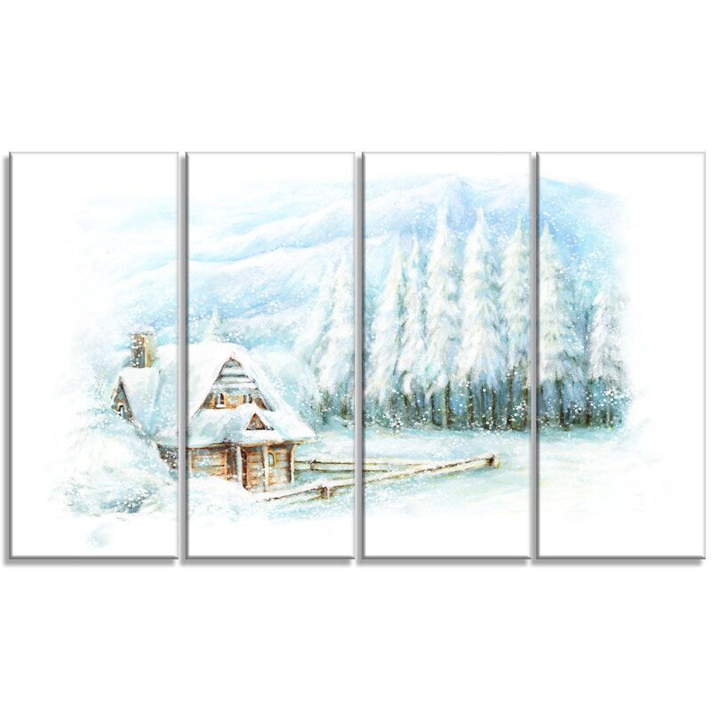 Designart Christmas Winter Happy Scene 4 Piece Graphic Art Print On Wrapped Canvas Set Wayfair