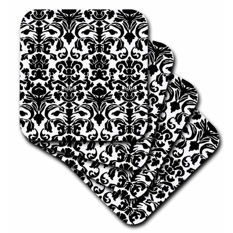 House Of Hampton Intricate Detailed And Fancy Damask Pattern Ceramic Tile Coaster Wayfair