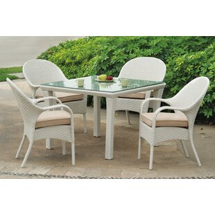 Highland Dunes Isabell 5 Piece Dining Set with Sunbrella Cushions
