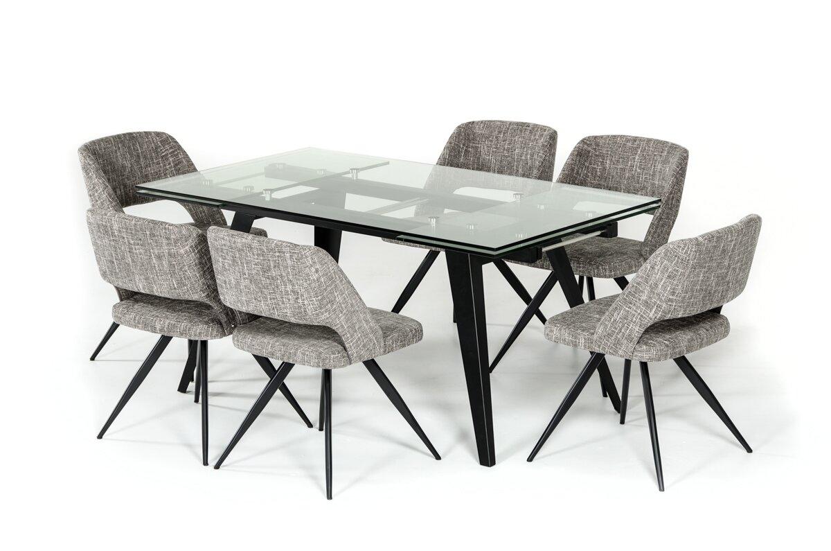Orren Ellis Clower Contemporary Extendable Glass Top Dining Table ...