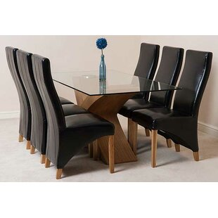Ediz   Glass Dining Set With 6 Chairs By Ebern Designs