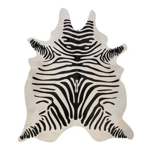 Stenciled Brazilian Cowhide Zebra Black/Off-White Area Rug Pergamino