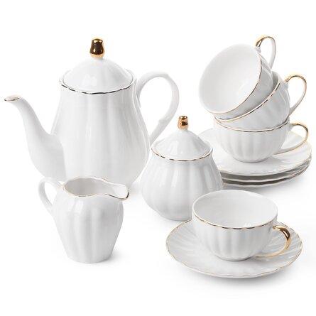 Classic Tea Set, 13 Pcs, Tea Cups (7Oz), Tea Pot (38Oz), Creamer And Sugar Set, Porcelain Tea Set, Tea Set, Tea Pot Sets With Cups, Coffee Serving Set,