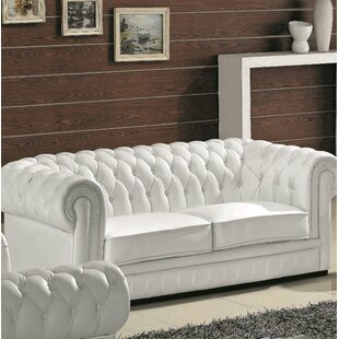 Botkin Leather Chesterfield Sofa Orren Ellis