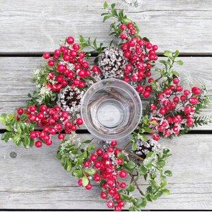 Christmas Iced Boxwood Pine Berry Glass Hurricane