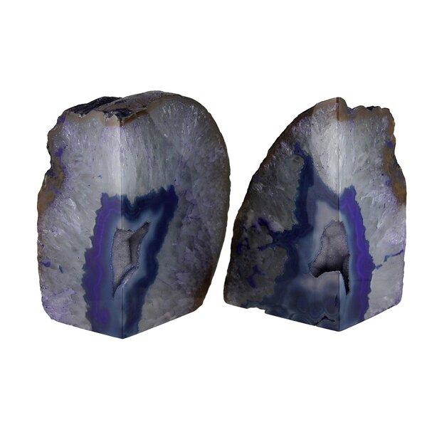 Zeckos Large Polished Purple Brazilian Agate Geode Bookends 7 11 Pounds Wayfair