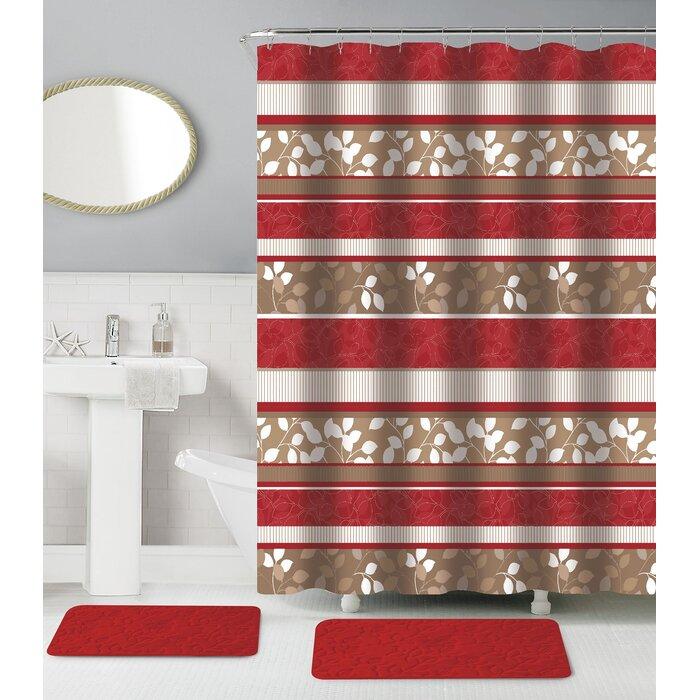 Nahua Memory Foam 15 Piece Shower Curtain Set + Hooks