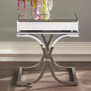 Kiril Mirrored End Table