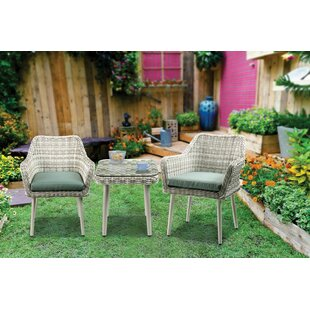 Bungalow Rose Tashay 3 Piece Bistro Set with Cushions