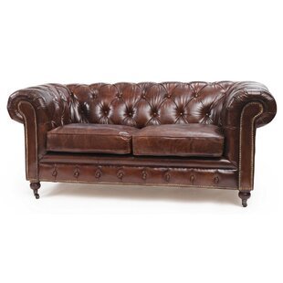 Jean Leather Chesterfield Sofa by 17 Stories